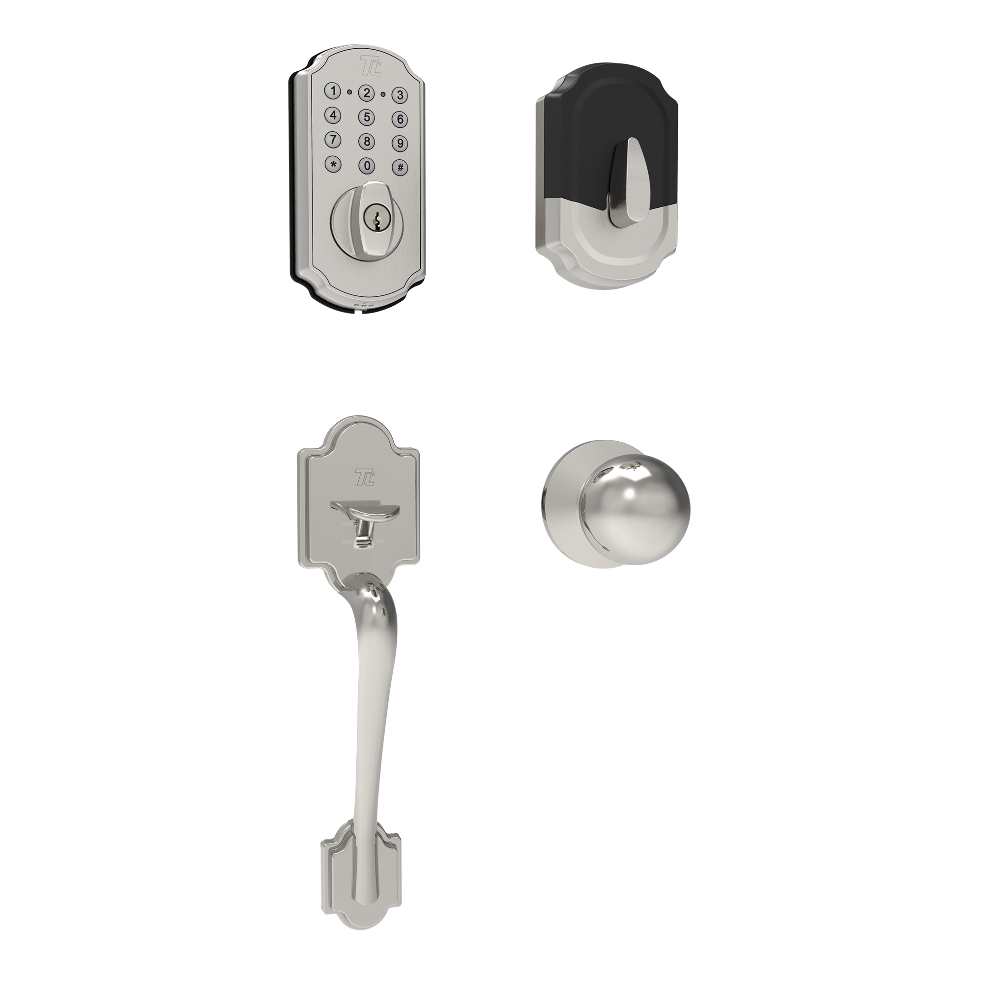 Effective and Easy to Install Brushed Nickel TURBOLOCK Front Door Lockset Combo /— Digital Deadbolt with Keypad Electronic Deadbolt Lock w//Voice Prompts TL114+TL121 Beautiful Entry Handle