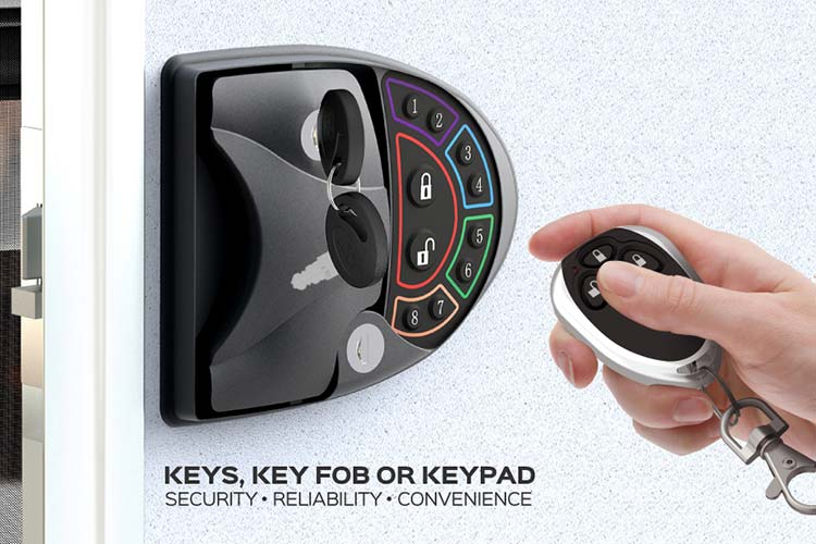 Closeup of someone using the key fob to engage with the Turbolock RV Smart Lock.