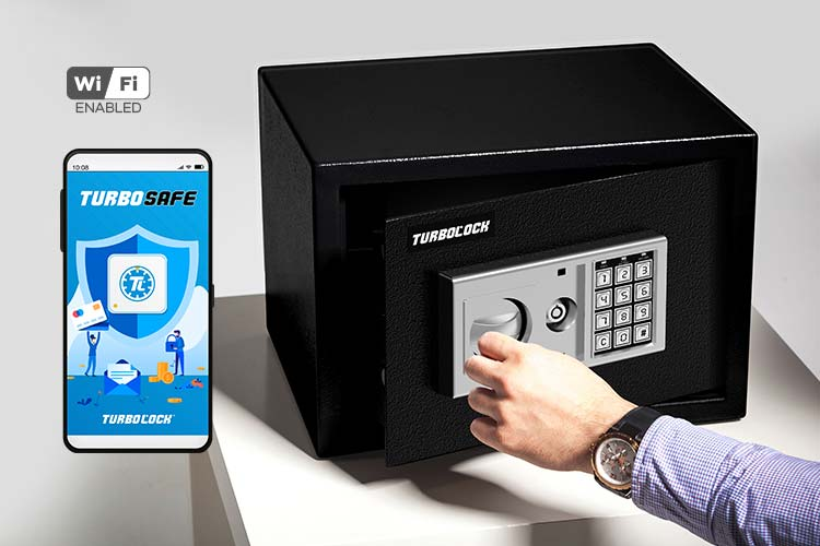 Image of the TurboSAFE app on a smartphone and a man opening the TurboSAFE smart safe.