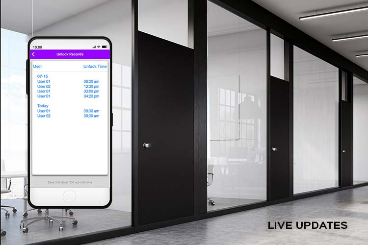 Image cutout of the Turbolock Plus app on a smartphone and a series of office doors.