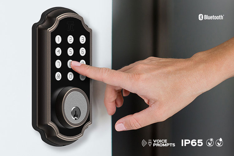 Closeup of someone pressing the keypad of the TL116/TL117 smart lock.