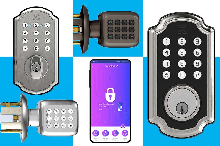 Images of our 2020 Turbolock Smart Locks and an image of the Turbolock Plus app.