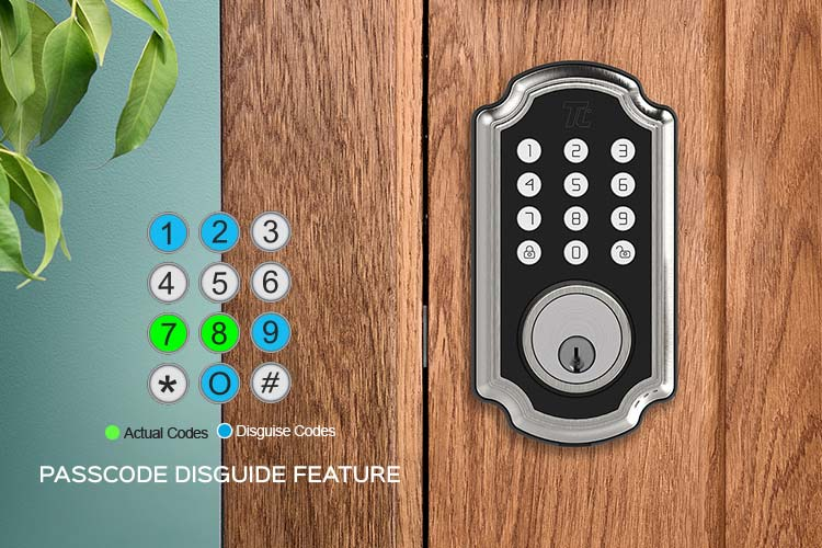 Visual representation of the passcode disguise feature of the TL117 deadbolt smart lock from Turbolock.