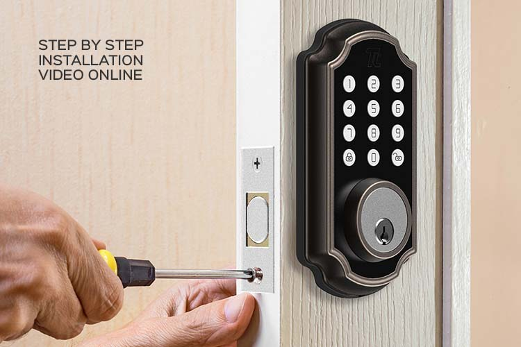 Closeup of a man installing the TL116/TL117 smart deadbolt from Turbolock.