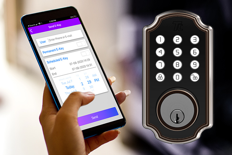 Split image: Closeup of a woman holder her smartphone with the Turbolock Plus app open (left); full view of the Turbolock TL116/TL117 smart lock with keypad (right).