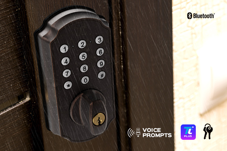 Closeup of the TL115 smart deadbolt lock with keypad.