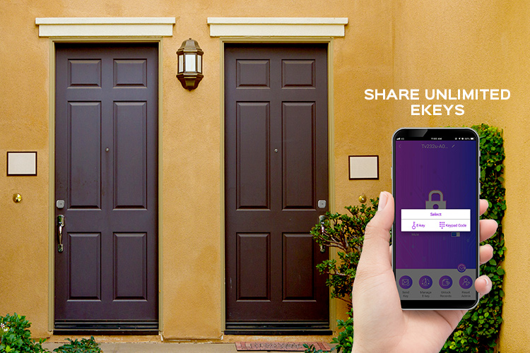 View of two front doors and someone holding their smartphone with the Turbolock app open.