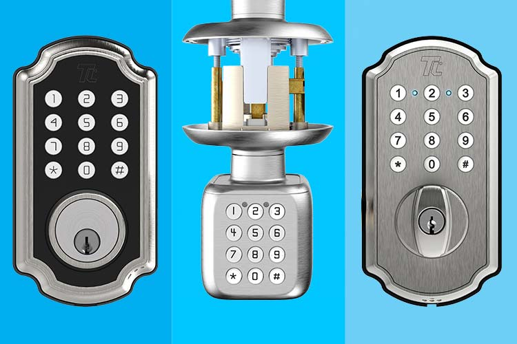Three-split image with the TL116/117 (left), TL111 PRO (center), TL114/115 (right) smart locks from Turbolock.