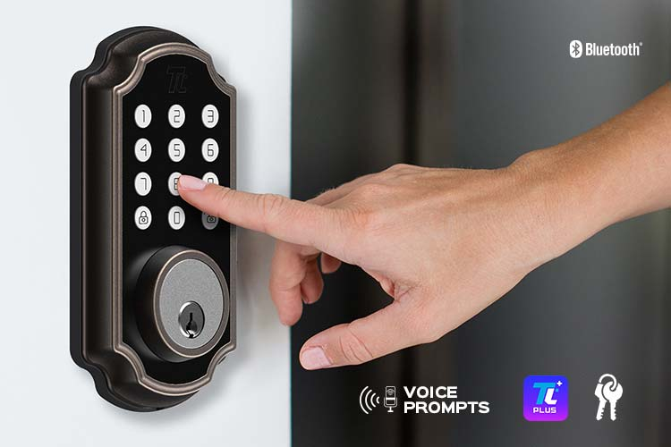 Close-up of a woman using the keypad on the TL116 Smart Deadbolt.