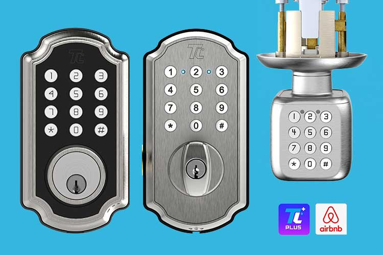 Front view of three products: TL116/117 smartbolt (left), the TL114/115 digital deadbolt (center) and the TL111/111 PRO smart door knob (right).